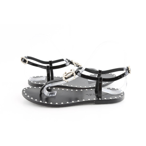 Chanel Black Patent Pearl CC Thong Sandals
