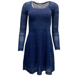 Missoni Blue Knit Long Sleeve Flare Dress