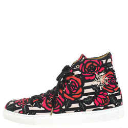 Charlotte Olympia Multicolor Rose Print Canvas High Top Sneakers Size 38.5