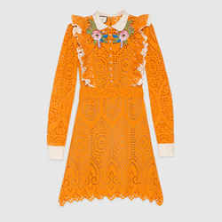 sz 38 NEW $4500 GUCCI RUNWAY Orange EYELET RUFFLE FLOWER Broderie Anglaise DRESS