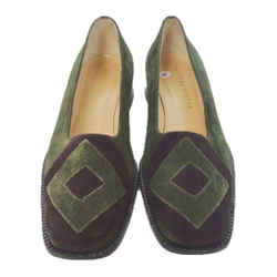 BOTTEGA VENETA Green and Purple Suede Flats with Wooden Block Heel Size 6