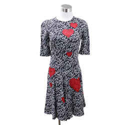 Dolce & Gabbana Black White Print Red Heart Viscose Dress Sz 2