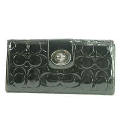 Coach Embossed Logo Long Flap Wallet Black Patent 22CKO123