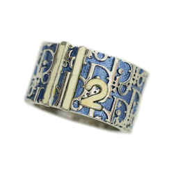 Dior Blue Trotter Pattern 2 Silver Plated White Ring Size 6