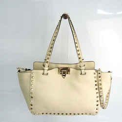 Valentino Garavani Rock Studs Women's Leather Handbag,Shoulder Bag Ivor BF519116