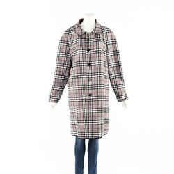 Burberry Gray Black Plaid Cotton Reversible Coat SZ M