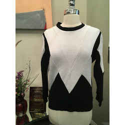 Sandro Sz 1 Black & White Zig Zag Sweatshirt - 3-