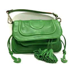 Marc Jacobs Bright Green Lamb Leather Tassel Red Strap Shoulder Bag Purse Italy