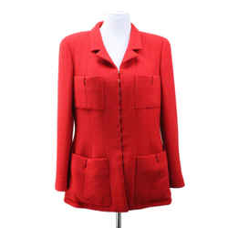 Chanel Red Silk Jacket sz 14