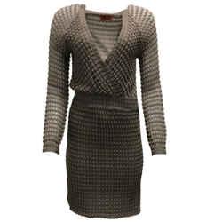 Missoni Taupe Long Sleeved V-Neck Knit Dress