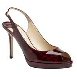 Jimmy Choo Nova Patent Leather Peep Toe Slingback Sandal Sz 39 New Platform $750