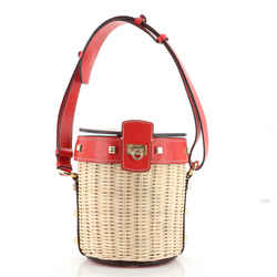 Gancini Drawstring Bucket Bag Wicker with Studded Leather Small
