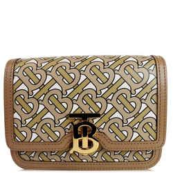 Burberry Tb Monogram Small Leather Shoulder Bag Beige