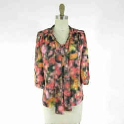 0 / XS - Mulberry Womens Pink Black Watercolor Print Button Front Blouse 0000MB