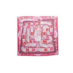 Authentic Hermes 100% Silk Scarf 'Le Tour Du Monde en 63 Cases' Marie Pink 90cm
