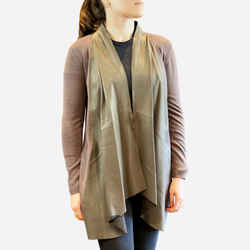Brown Knit And Taupe Leather Trim Open-front Cardigan