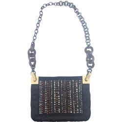 """Lanvin Beaded and Embellished Black Silk Shoulder Bag 9""""L x 0.5""""W x 7""""H"""