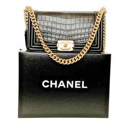 Chanel New Medium Boy Bag In Black Alligator Rare