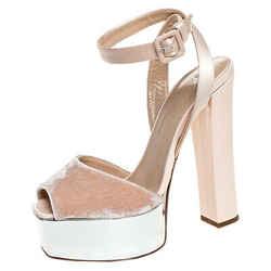 Giuseppe Zanotti Beige Satin And Velvet Open Toe Platform Ankle Strap Sandals...