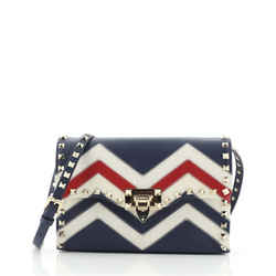 Rockstud Flip Lock Flap Bag Leather and Canvas Small