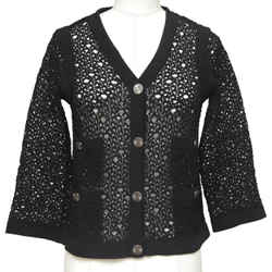 Chanel Black Cardigan Sweater Knit V-neck Buttons 3/4 Sleeves Sz 36 2012