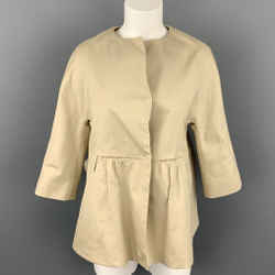 MARNI Size 4 Beige Cotton Ruched Waist Jacket