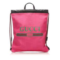 Pink Gucci Logo Drawstring Leather Backpack Bag