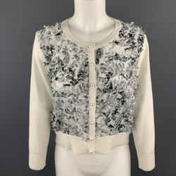 Karl Lagerfeld Size M White Knit Floral Textured Chiffon Front Cardigan
