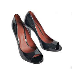 Bottega Veneta Black Patent Leather Peep Toe Pump Shoes (36.5)