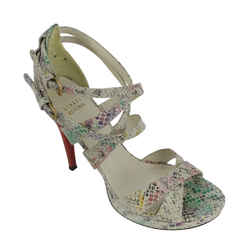 Stuart Weitzman<br>Multicolor Embossed Strappy Heels<br>Size: 8