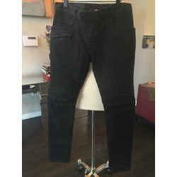 Balmain Size 31 Black Stretch Cotton Moto Biker Pants Jeans - 2305-1-8119