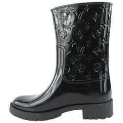 Louis Vuitton Size 39 Black Drops Flat Half Boot Rain 64lvs629