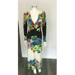 $1710 Roberto Cavalli Floral Printed Long Sleeve Stretch Lycra V Neck Dress Sz 6