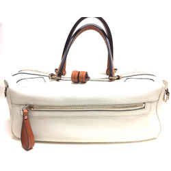 Gucci White Caviar Leather Tan Leather Handles & Pull Duffle Bag