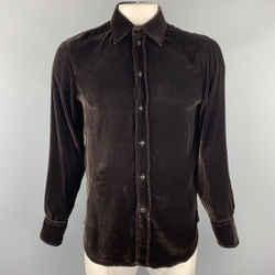 Emporio Armani Size L Brown Velvet Button Up Long Sleeve Shirt