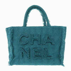 Auth Chanel Tweed 2019aw Large Zip Shopping Bag Emerald Green As0977 29 Series L
