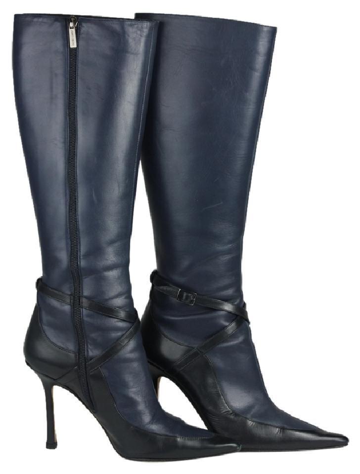 Jimmy Choo Knee High Heel Boots Blue