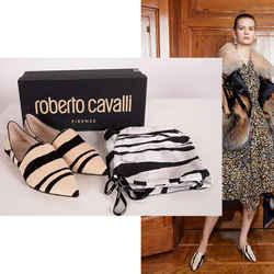 37 NEW $675 ROBERTO CAVALLI Runway Ivory Calf Hair Point Toe BABUS LOAFER FLATS