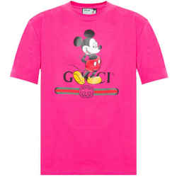 New Gucci Pink Small Disney Cotton Crewneck T-shirt
