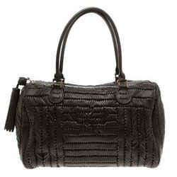 Anya Hindmarch Dark Brown Braided Leather Sydney Bag