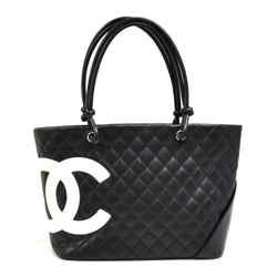 Chanel Cambon Neon Pink & Black Quilted Calfskin Leather Tote Bag CH747