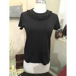 Prada Black Cotton Black Beaded Collar Short Sleeve Top-3-347-91319