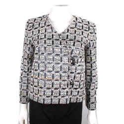 Chanel - 2016 Metallic Tweed Suit Jacket Blazer 16p Black White 16c - Us 2 - 34