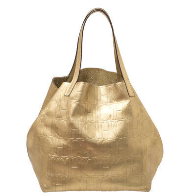 Carolina Herrera Metallic Gold Monogram Leather Matryoshka Tote Leprix