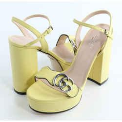 Gucci Calfskin GG Marmont Platform Sandals - Banana