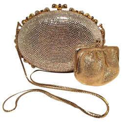 Judith Leiber Swarovski Crystal Oval Bow Trim Minaudiere Evening Bag Clutch