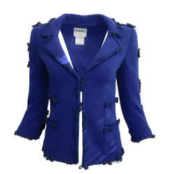 Chanel Vintage Royal Blue Wool Blend Blazer