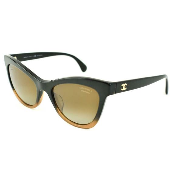 "CHANEL: Black/Brown, Ombre & Gold ""CC"" Logo Polarized Sunglasses (mb)"
