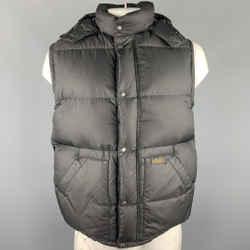 Ralph Lauren Size L Black Quilted Polyester Zip & Snaps Vest