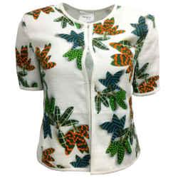 Akris Punto White & Green Leaf Print Cotton Jacket